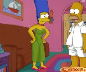 Comics The Simpsons- Lustful Homer and Marge, family , threesome