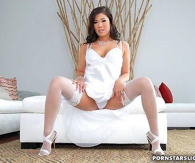 Hot Asian pornstar in stockings..