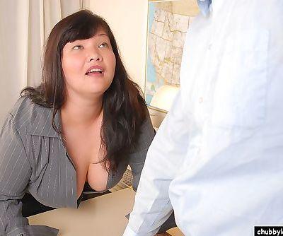 Obese brunette Olivia strips..
