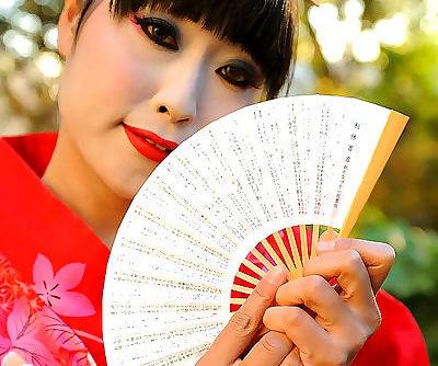Japanese Geisha pleasures a white..