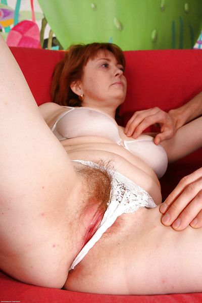 Nasty mature redhead Strekoza sucking a cock and getting fucked