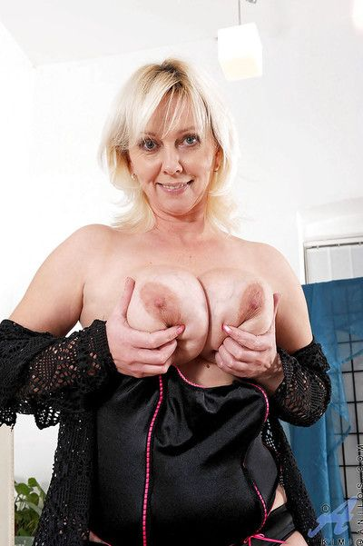 Busty mature with amazing tits Kimi superb nudity and toy porn at home