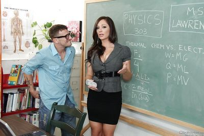 Slutty teacher goes down on her naughty students stiff dick
