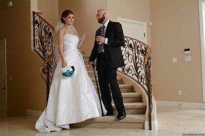 Milf wife Jenni Lee has sex in her wonderful white wedding dress