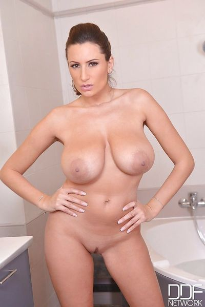 European solo girl Sensual Jane unveiling large MILF boobs in high heels - part 2