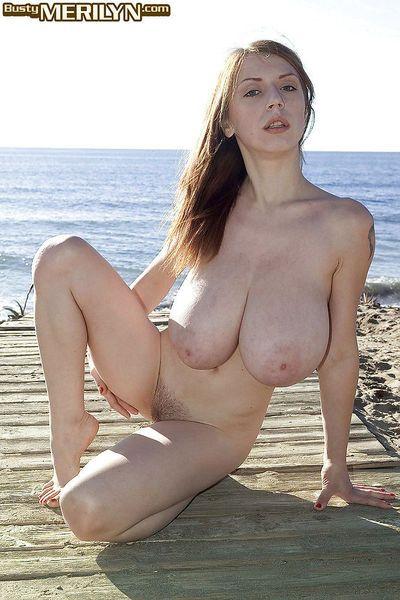 European MILF Merilyn Sakova freeing massive juggs outdoors on beach - part 2