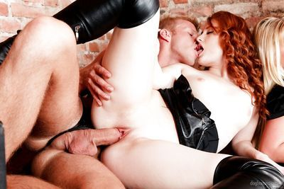 Hot chicks in leather and latex get busy during group sex fucking in dungeon - part 2