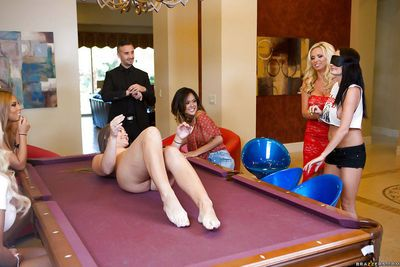 Blindfolded party babe with big tits rides a cock on the pool table