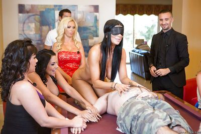 Blindfolded party babe with big tits rides a cock on the pool table - part 2