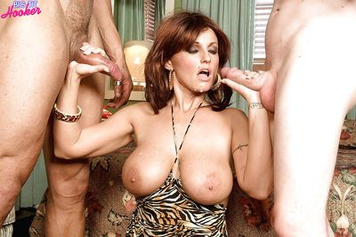 Buxom mom Sarah Sunshine riding and blowing big cocks in threesome - part 2