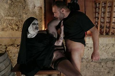 European female getting nailed while wearing creepy Nun costume