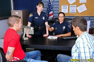 Hot MILFs in cop uniform Dana Dearmond & Francesca Le fucking inmate