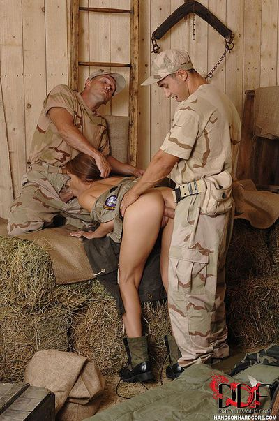 European MILF in army unit taking anal sex during groupsex DP action