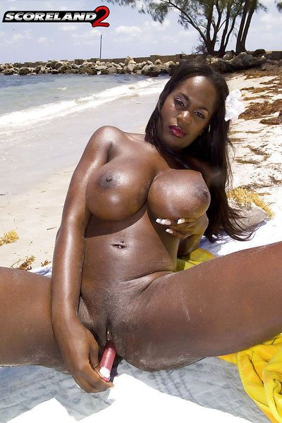 Black mom Nikki Jaye freeing huge juggs from bikini outdoors on beach - part 2