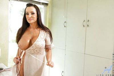Gorgeous mature bombshell with huge jugs undressing and taking shower