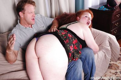 Mature redhead Scarlett has her fat ass fucked hard by a younger dude