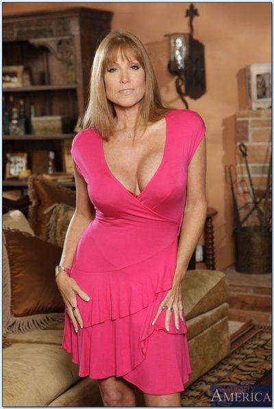 Busty mature in heels Darla Crane stripping from sleek lingerie
