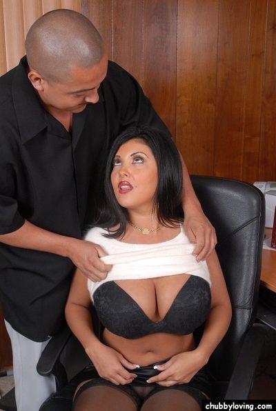 Chesty plumper Jaylene tit fucks a long cock for cumshot on nice melons