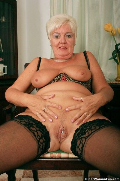 Grandma sandie in black stockings