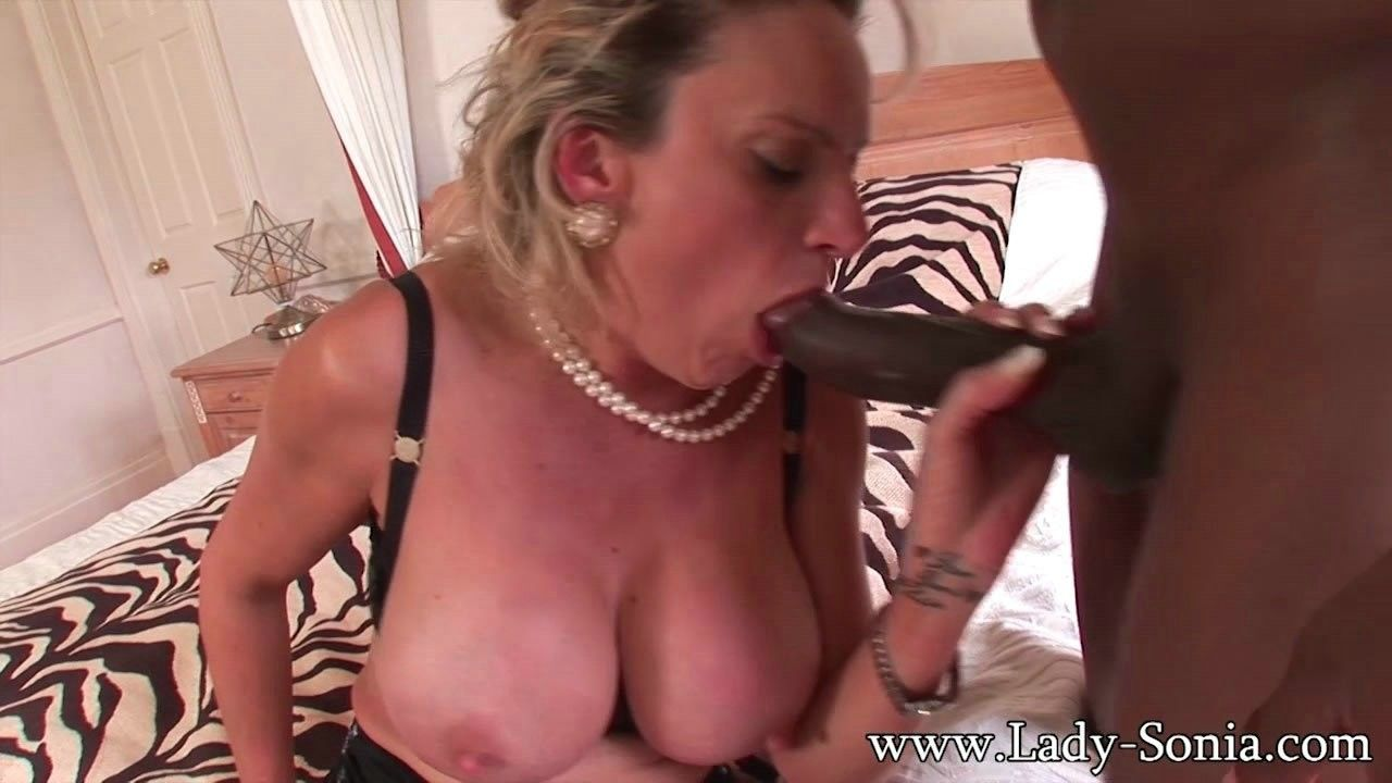 Milf lady sonia gets a creampie in interracial action