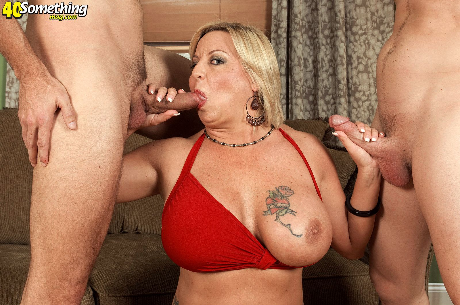 Huge titted mature loves double cocks