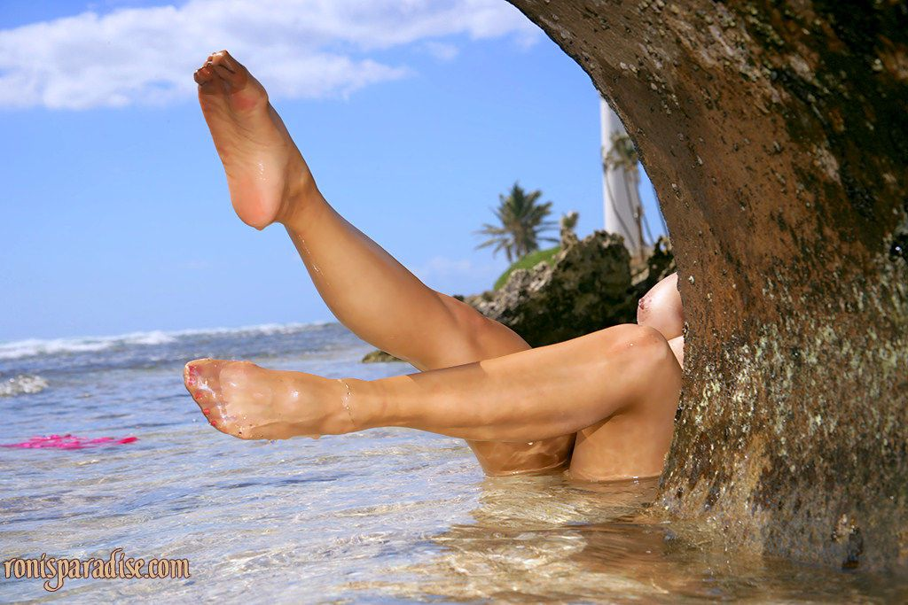 Astounding mature Roni getting naked and masturbating on the beach - part 2