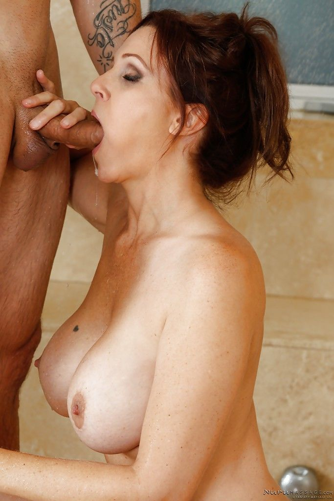 Beautiful big tit MILF Julia Ann enjoying a monster cock in her mouth - part 2