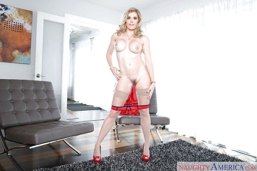 Stocking attired MILF wife modeling sexy lingerie for solo girl spread - part 2