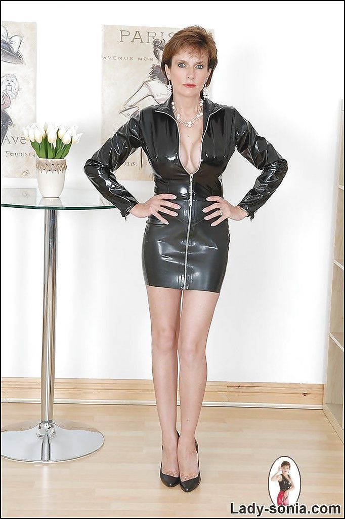 Latex catsuit crotch zipper