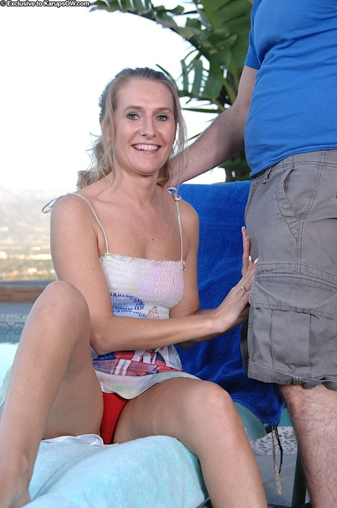 Blonde cougar Sara James gets a hard fucking by the pool