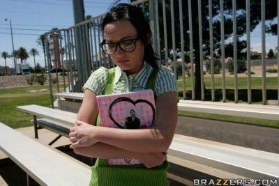 Busty school babe Melissa Lauren has a boner in her butthole