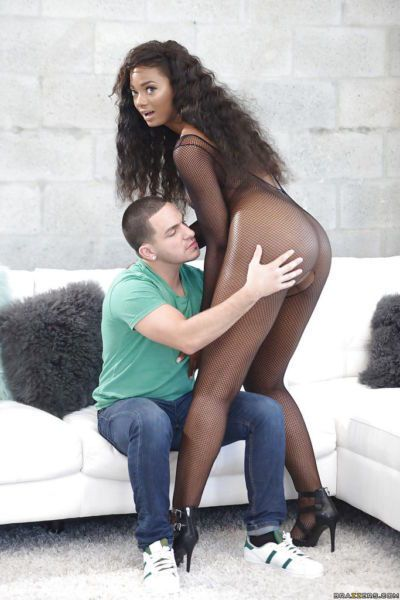 Black teen Peyton Sweet offers up phat ass for oiling in mesh bodystocking