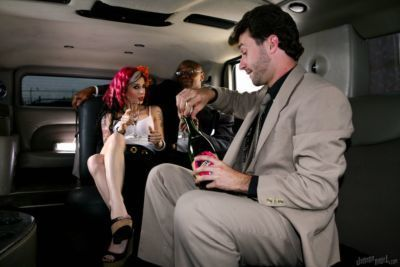 Tattooed alternative girl Joanna Angel banging black and white dudes in limo