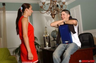 Smiley cheerleader slut passes her audition by sucking and fucking a hard dick