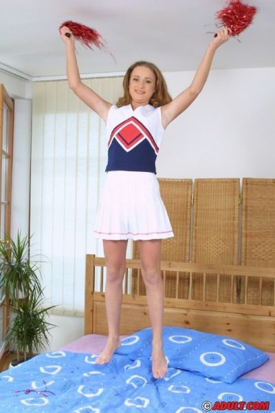 Chippy teen cheerleader slowly uncovering her tempting curves