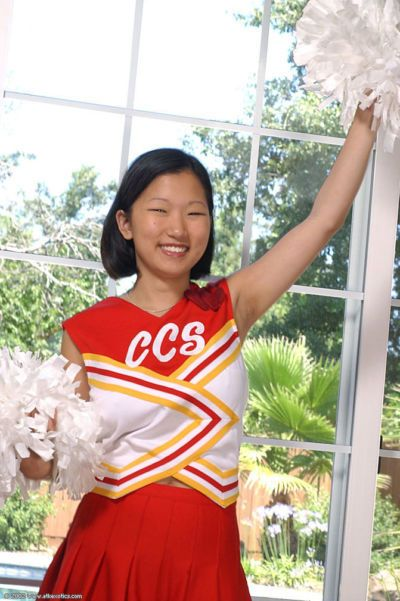 Korean amateur Maxine loosing big natural boobs from cheerleader uniform