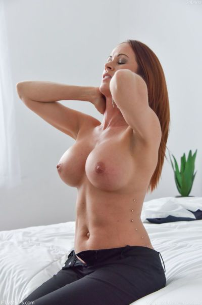 Big boobed MILF masturbates while riding her man\\\