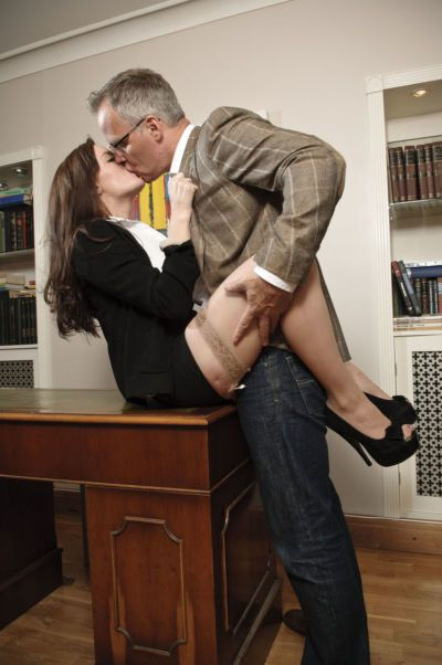 Naughty secretary Samantha Bentley bangs her boss in flesh colored stockings