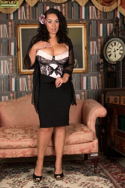 Fat black solo girl Anastasia Lux unleashing big MILF tits from lingerie