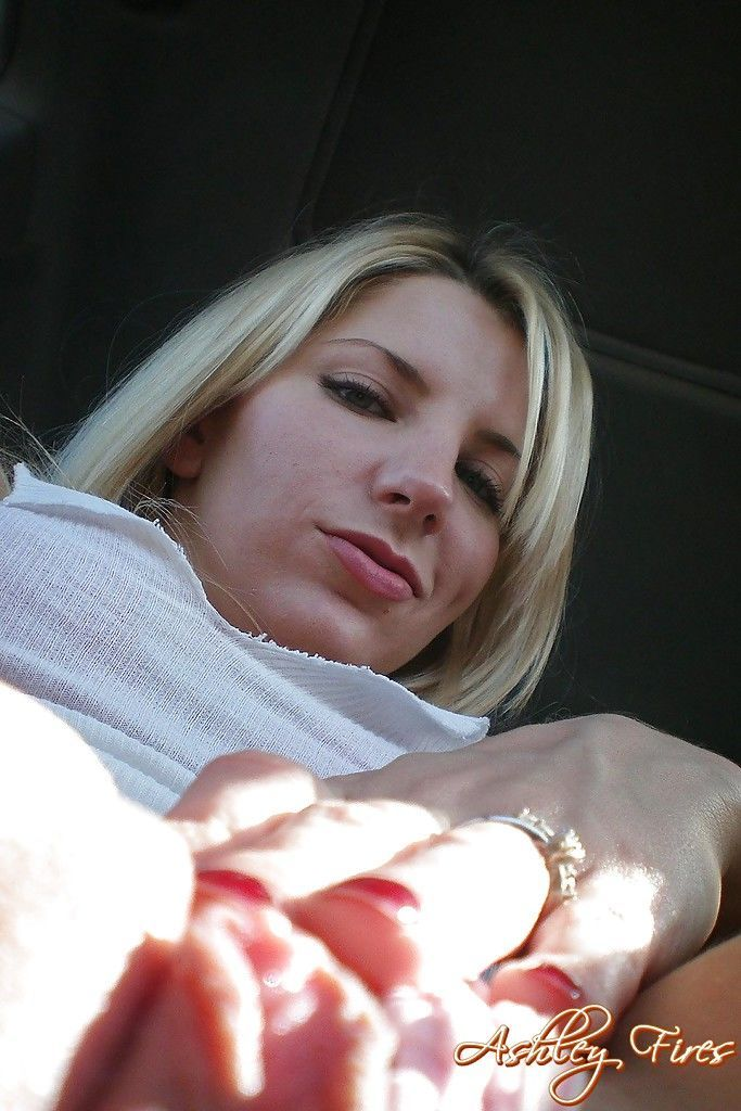 Amateur blonde mom with tiny tits giving blowjob while mastrubating