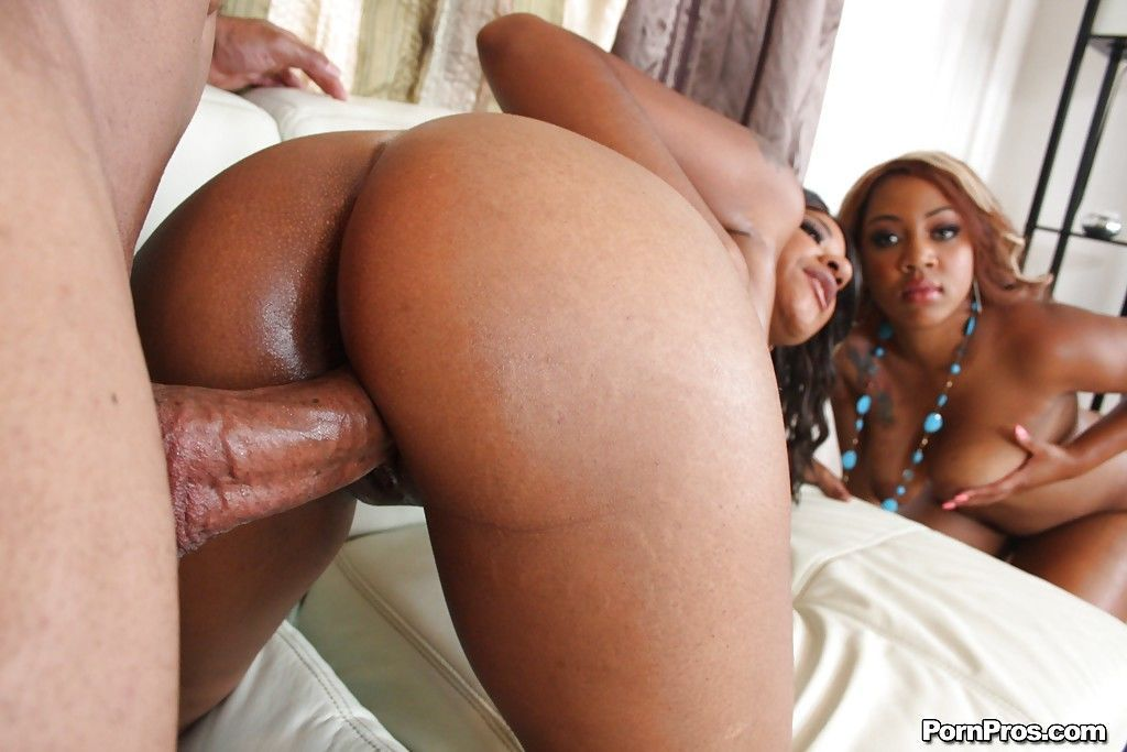 Hot ebony babes expose their huge asses and ride a meaty dick