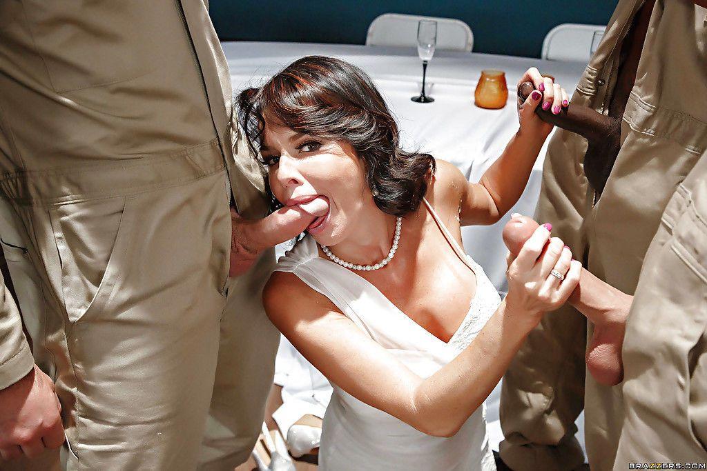 MILF pornstar Veronica Avluv taking interracial gangbang in wedding dress