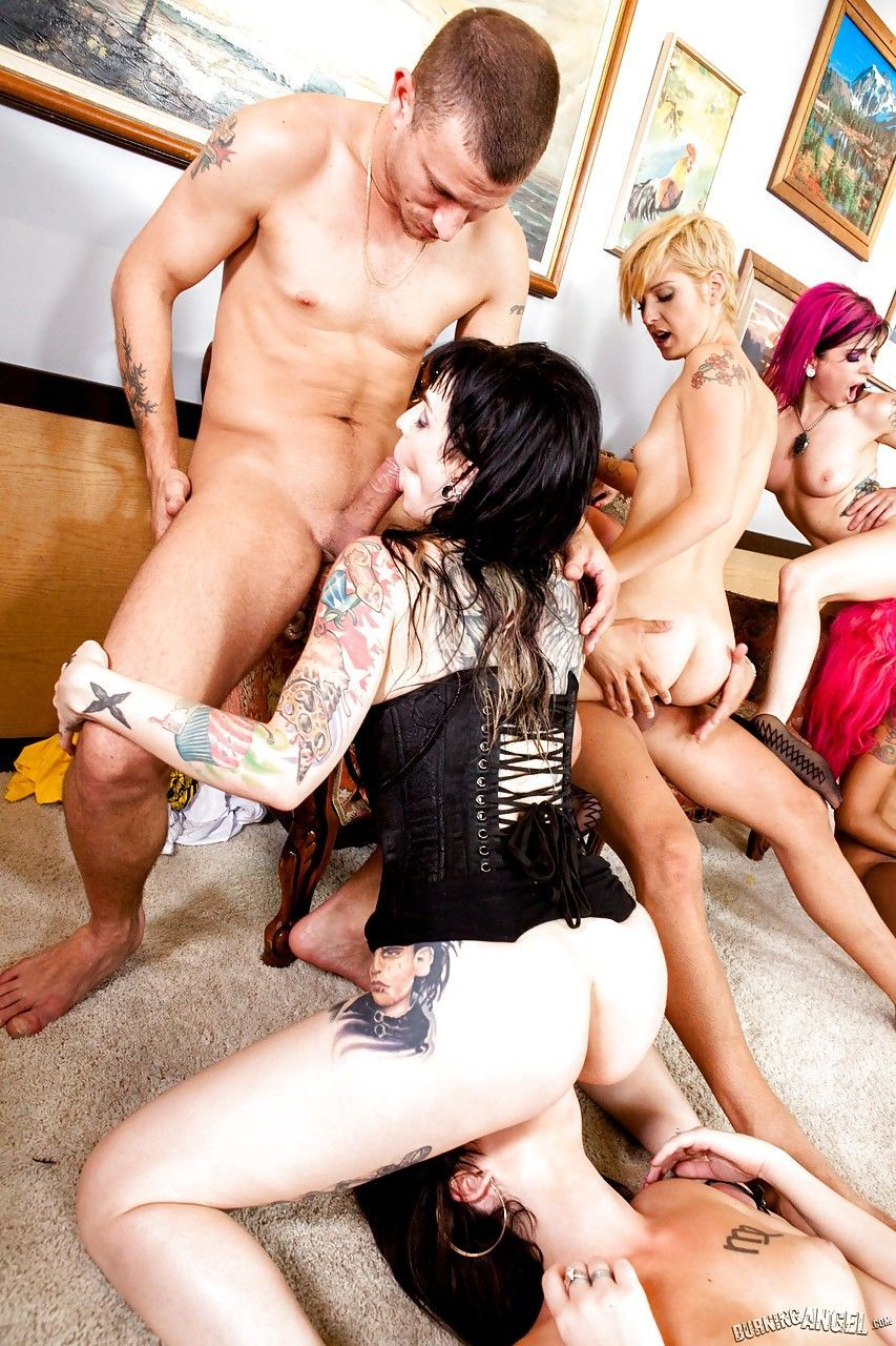 Tattooed moms take hardcore double penetrations during wild orgy sex