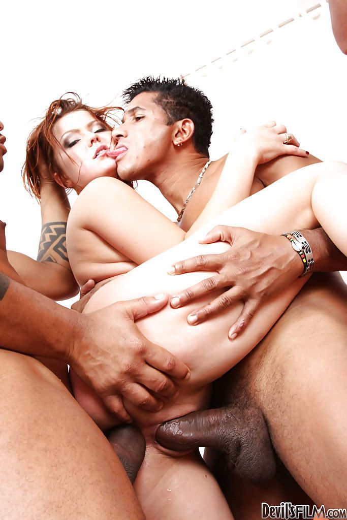 Interracial gangbang double penetration with hot Olga B giving head