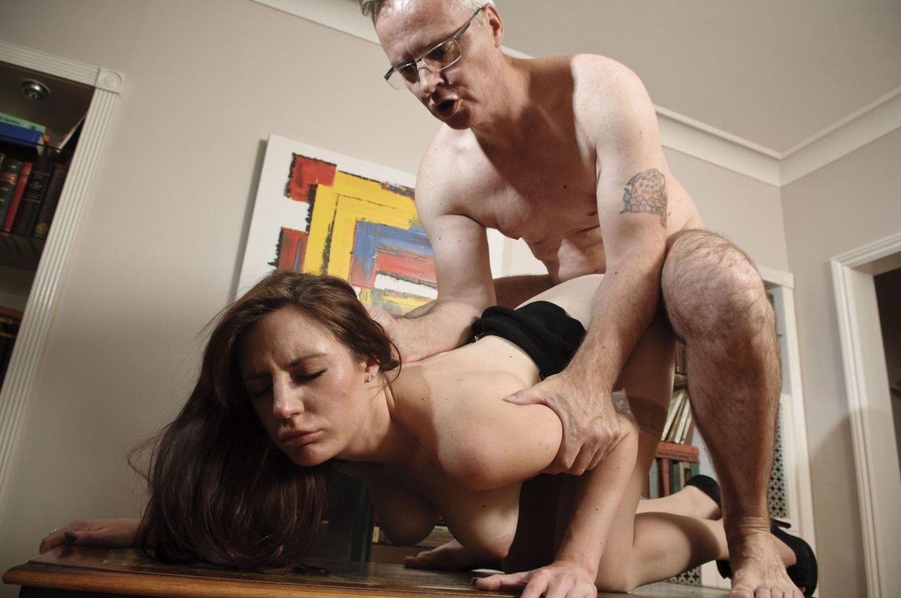 Naughty secretary Samantha Bentley bangs her boss in flesh colored stockings