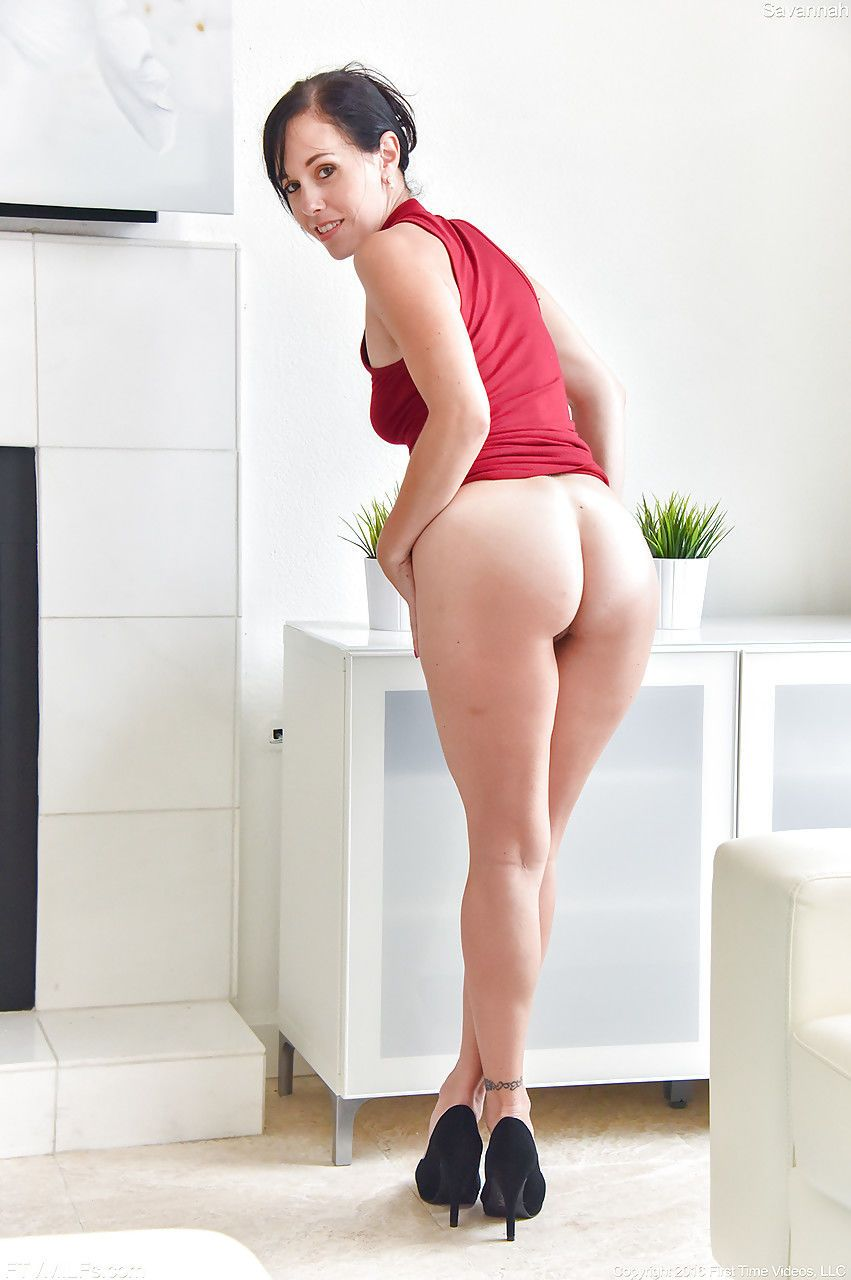 Hot MILF in red dress flashes nude upskirt to show hairy pussy and nice tits