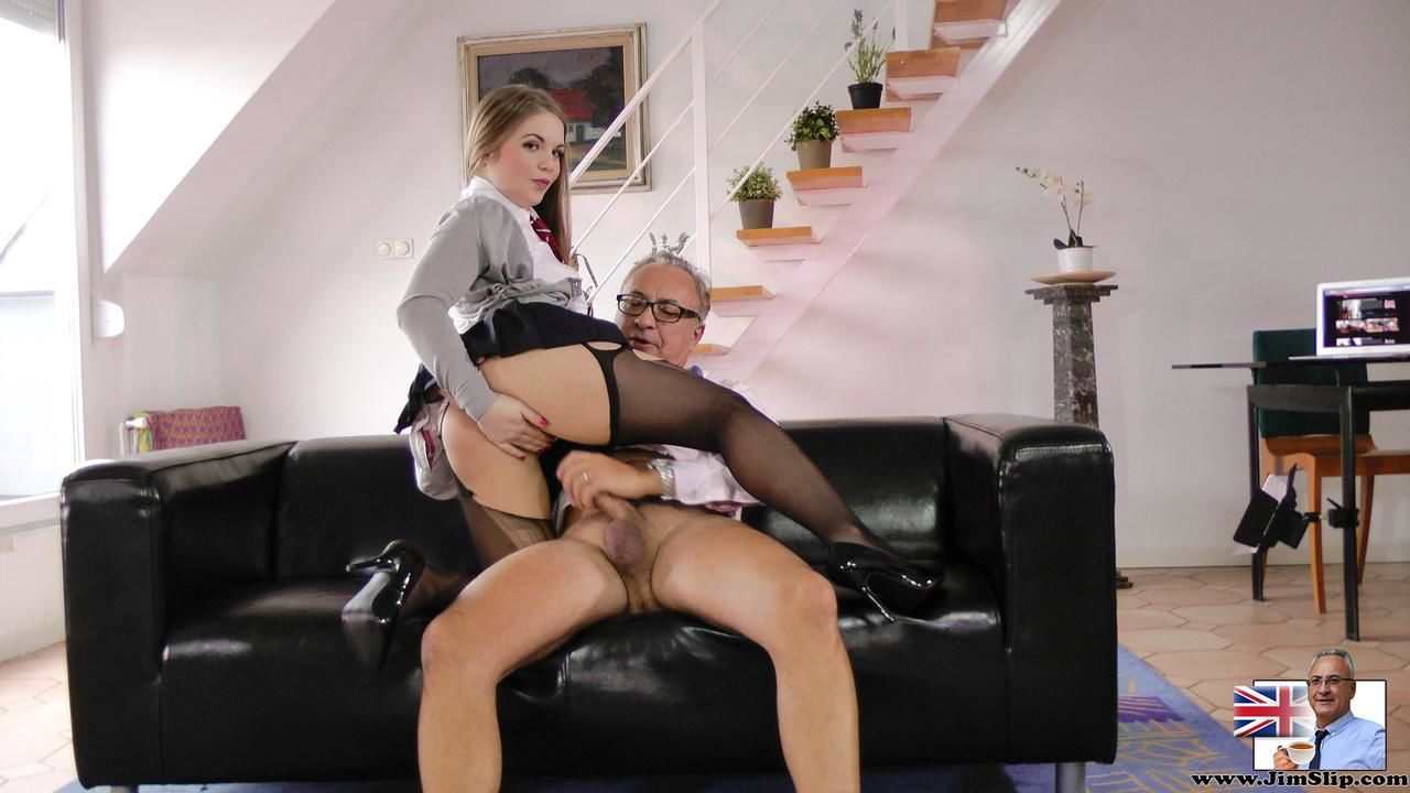 Teen schoolgirl teases and old man before her fucks her hard and rips her hose