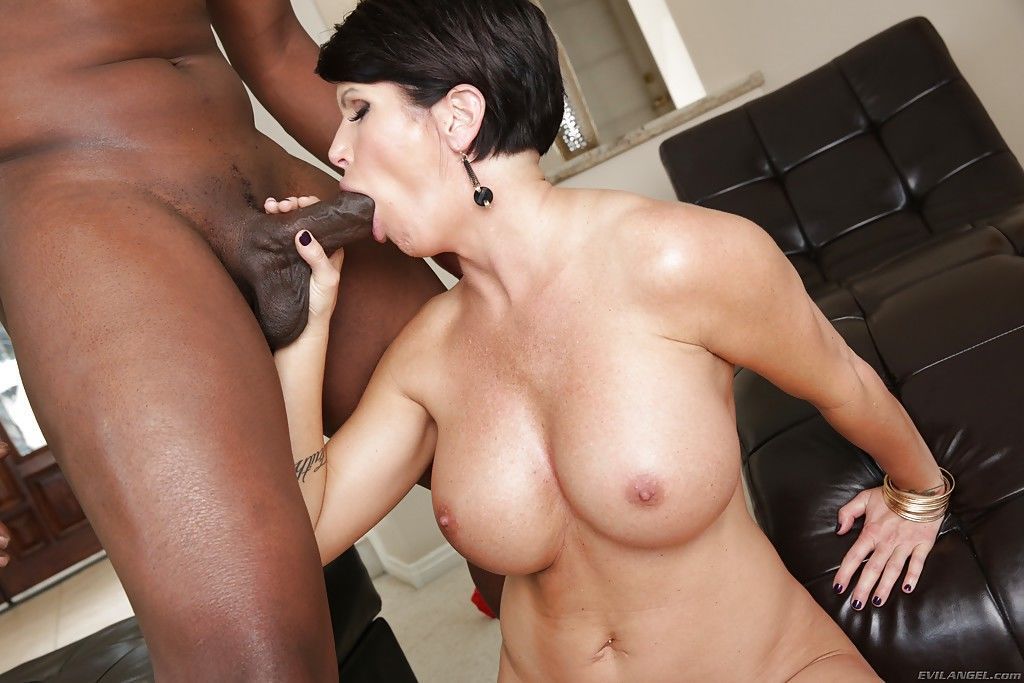 Hardcore big dick loving slut Shay gives an interracial blowjob