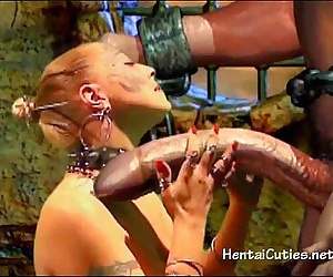 Blonde 3D cutie sucking giant alien cock - 5 min