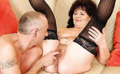 Lusty granny Helena May gets her love holes fucked with toys and cock